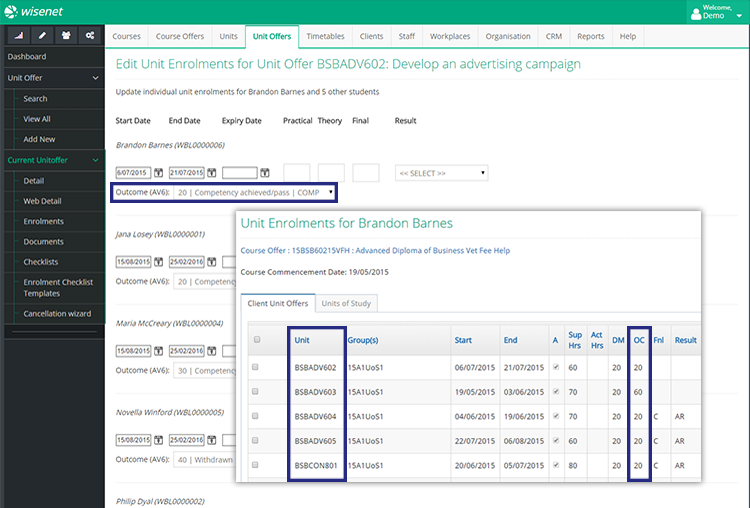 Wisenet Programs & Enrolments Features - Result Management
